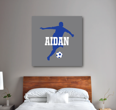 Personalized Soccer Player Silhouette Gallery Wrapped Canvas for Boys - Soccer Ball - Teen Room Decor - College Dorm Room - White, Royal Blue, Titanium Grey