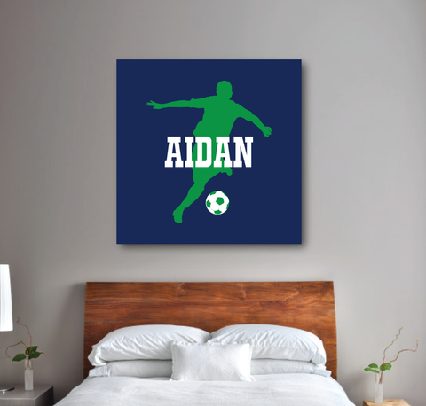 Personalized Soccer Player Silhouette Gallery Wrapped Canvas for Boys - Soccer Ball - Teen Room Decor - College Dorm Room - White, Green, Navy Blue