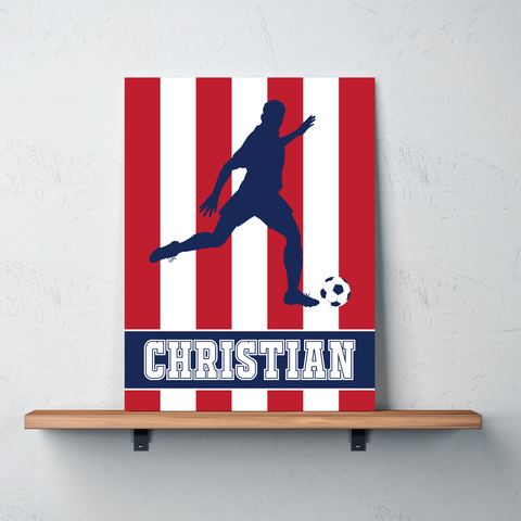Custom Striped Soccer Player Gallery Wrapped Canvas for Boys - Soccer Themed Room Deco for Kids and Teens - White, Red, Navy Blue