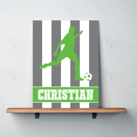 Custom Striped Soccer Player Gallery Wrapped Canvas for Boys - Soccer Themed Room Deco for Kids and Teens - White, Titanium Grey, Light Green