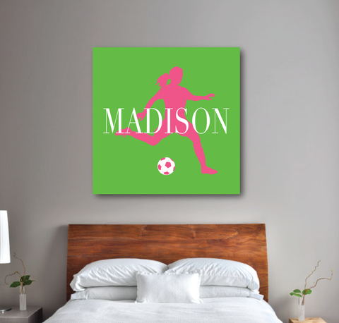 Personalized Soccer Player Silhouette Gallery Wrapped Canvas for Girls - Soccer Ball - Teen Room Decor - College Dorm Room - White, Light Green, Bubble Gum Pink