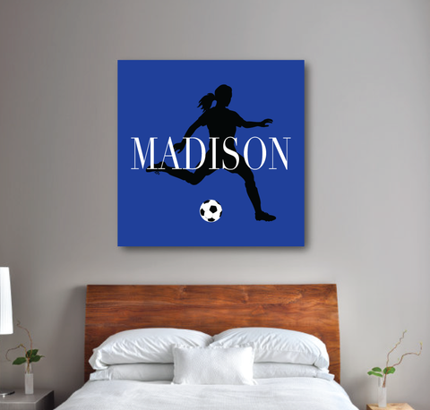 Personalized Soccer Player Silhouette Gallery Wrapped Canvas for Girls - Soccer Ball - Teen Room Decor - College Dorm Room - White, Black and Royal Blue