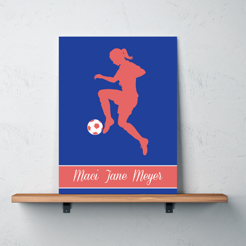 Soccer Girl Silhouette Gallery Wrapped Canvas - Personalized with Name - Soccer Ball Bedroom Decor for Girls and Teens - Preppy College Dorm Room - White, Royal Blue and Cayenne