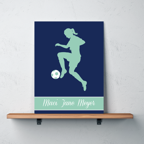 Soccer Girl Silhouette Gallery Wrapped Canvas - Personalized with Name - Soccer Ball Bedroom Decor for Girls and Teens - Preppy College Dorm Room - White, Navy Blue, Grayed Jade