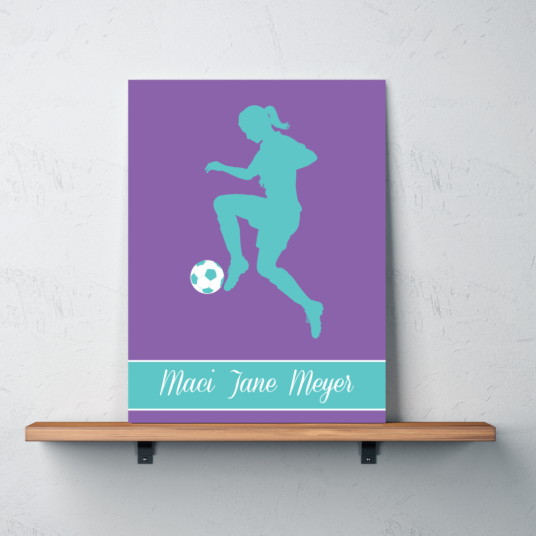 Personalized Bedroom Decor Soccer Girl Silhouette Canvas Personalized With Name Shop