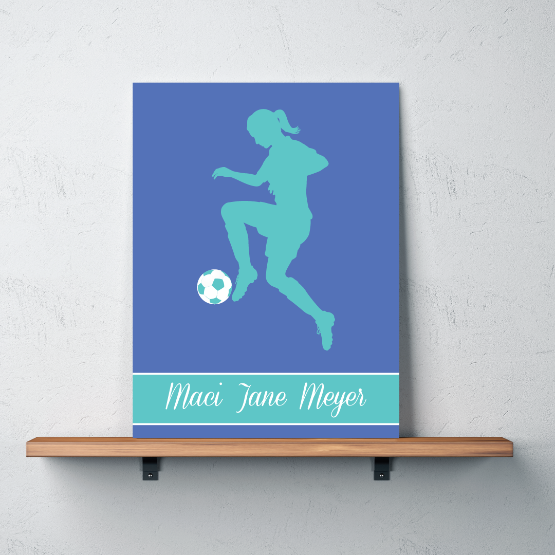 Soccer girl silhouette canvas personalized with name for Personalized last name university shirts