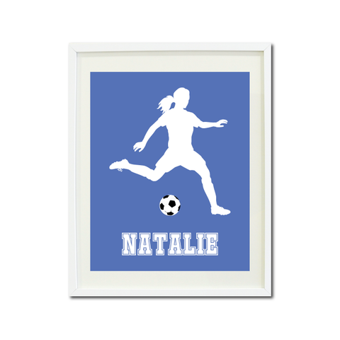 Soccer Player Wall Art Print for Girls - Monogrammed Art Print for Teens - Sports Gift for Kids - White and Periwinkle Blue