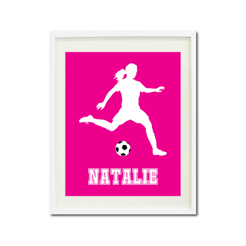 Soccer Player Wall Art Print for Girls - Monogrammed Art Print for Teens - Sports Gift for Kids - White and Hot Pink