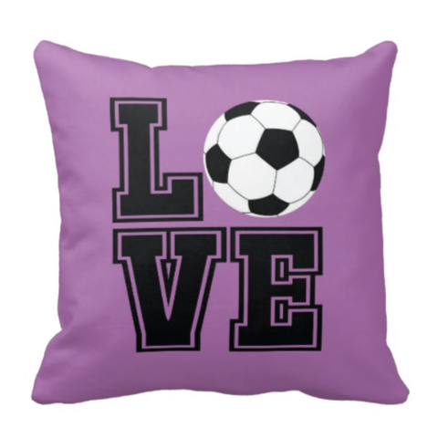 LOVE Soccer Ball Pillow - Soccer Player - Sports Team Gift - Black, Purple and White