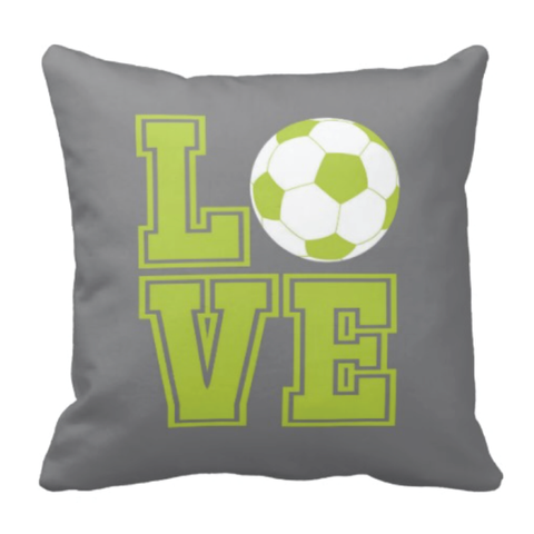 LOVE Soccer Ball Pillow - Soccer Player - Sports Team Gift - White, Grey, Lime Green