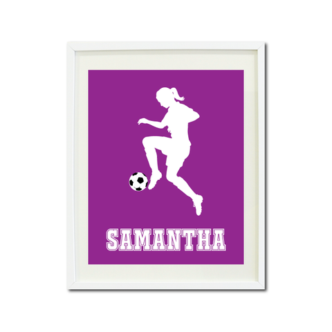 Soccer Player Wall Art Print for Girls - Monogrammed Art Print for Teens - Sports Gift for Kids - White and Purple