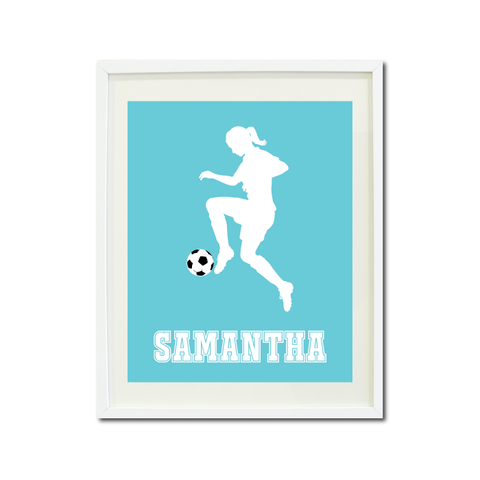 Soccer Player Wall Art Print for Girls - Monogrammed Art Print for Teens - Sports Gift for Kids - White and Aqua