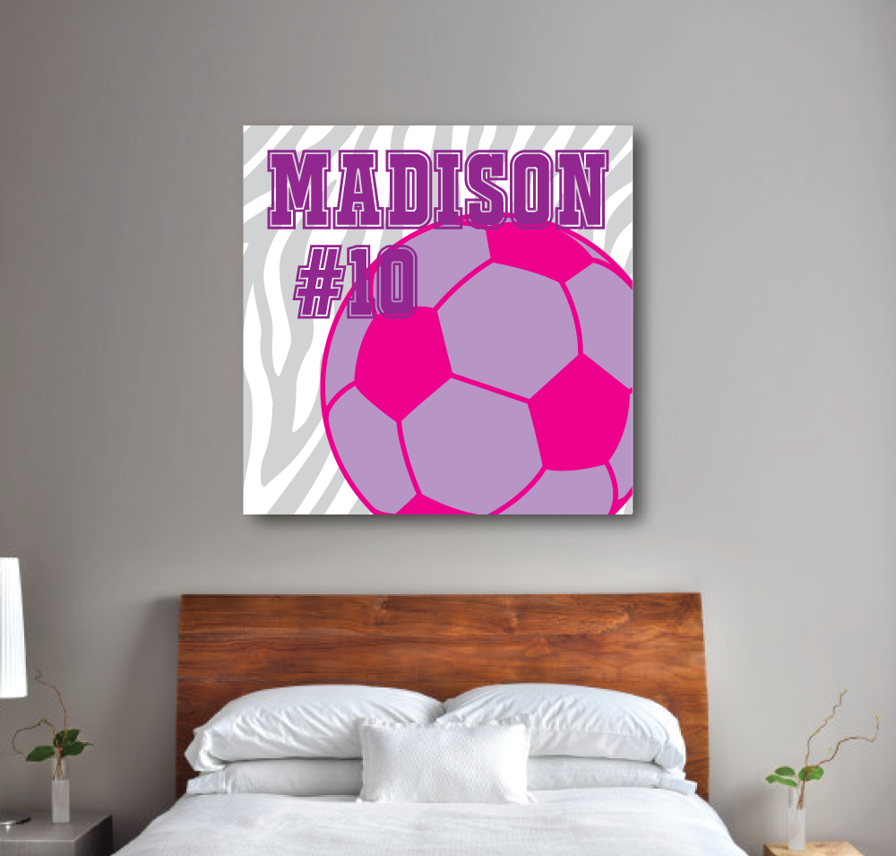 zebra print soccer ball canvas monogram u0026 jersey number u2013 shop