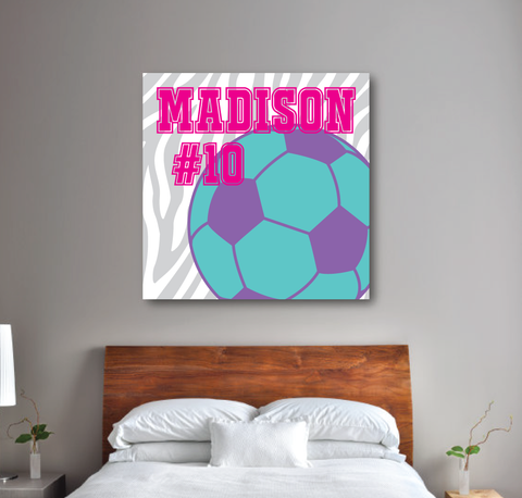 Zebra Print Soccer Ball Canvas - Monogrammed Name and Jersey Number - Sports Team Gift for Girls, Kids, Teens - White, Light Grey, Pool, Purple, Hot Pink