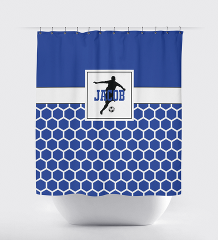 Soccer Shower Curtain for Boys - Custom Hexagon Pattern - Sports Gift for Teen Soccer Players - Royal Blue, Black and White