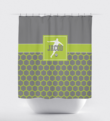 Soccer Shower Curtain for Boys - Custom Hexagon Pattern - Sports Gift for Teen Soccer Players - Grey, Lime Green and White