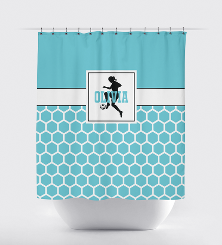 Soccer Ball Shower Curtain for Girls - Custom Hexagon Pattern - Sports Gift for Teen Soccer Players - Aqua, Black and White