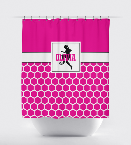 Soccer Ball Shower Curtain for Girls - Custom Hexagon Pattern - Sports Gift for Teen Soccer Players - Hot Pink, Black and White
