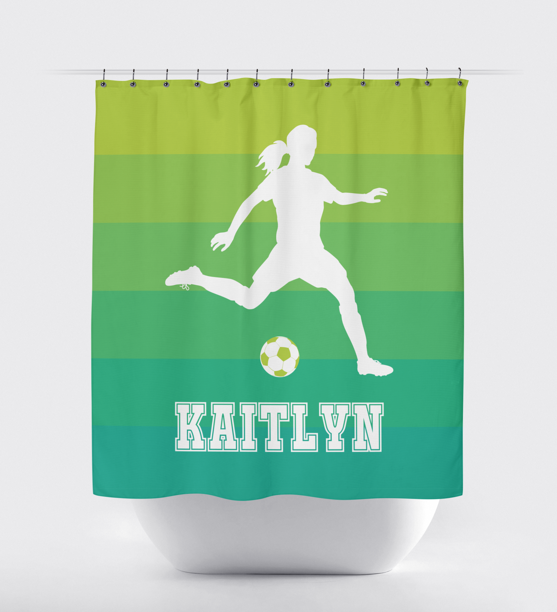 Ombre Striped Soccer Player Shower Curtain Bright Chartreuse To Emerald Choose Any Colors