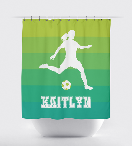 Ombré Striped Shower Curtain - Soccer Player - Girls - Teens - White, Lime Green Emerald