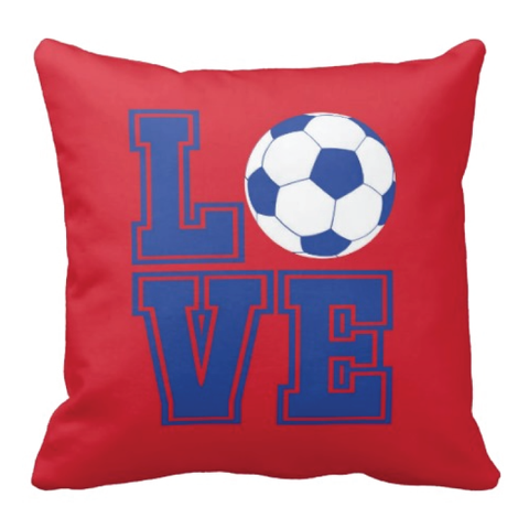 LOVE Soccer Ball Pillow - Soccer Player - Sports Team Gift - White, Red, Royal Blue