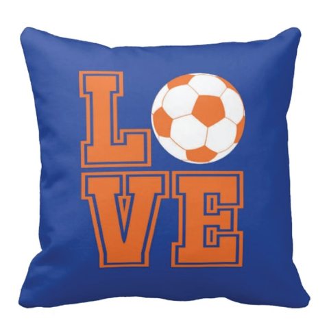 LOVE Soccer Ball Pillow - Soccer Player - Sports Team Gift - White, Royal Blue, Carrot Orange
