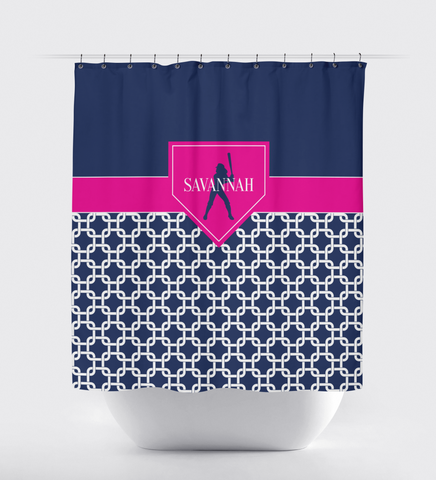 Chain Link Home Plate Softball Shower Curtain - Kids and Teens Custom Bathroom Decor - Girls Softball Team Sports Gift - White, Navy Blue and Hot Pink