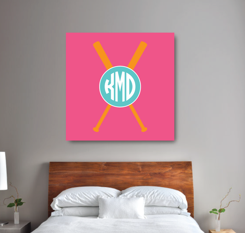 Circle Monogram Custom Softball Canvas Wall Art with Bats - Teen Girl Wall Art - College Dorm Room Decor - White, Bubble Gum Pink, Orange, Pool