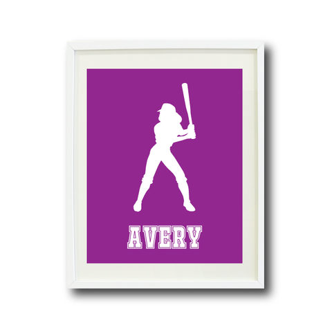 Softball Batter Wall Art Print for Girls - Monogrammed Art Print for Teens - Sports Gift for Kids - White and Purple