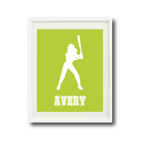 Softball Batter Wall Art Print for Girls - Monogrammed Art Print for Teens - Sports Gift for Kids - White and Lime Green