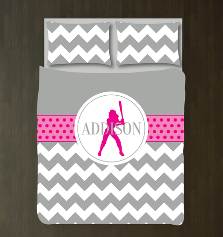 Personalized Softball Bedding Set for Girls - Duvet Cover and Shams for Teens - Softball Player Gift - Sports Team Decor - White, Hot Pink, Grey
