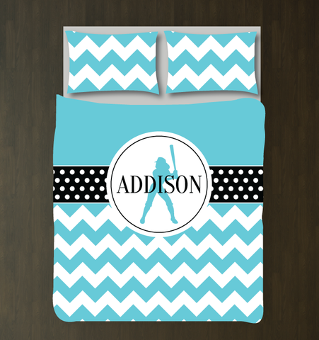 Personalized Softball Bedding Set for Girls - Duvet Cover and Shams for Teens - Softball Player Gift - Sports Team Decor - White, Black, Aqua