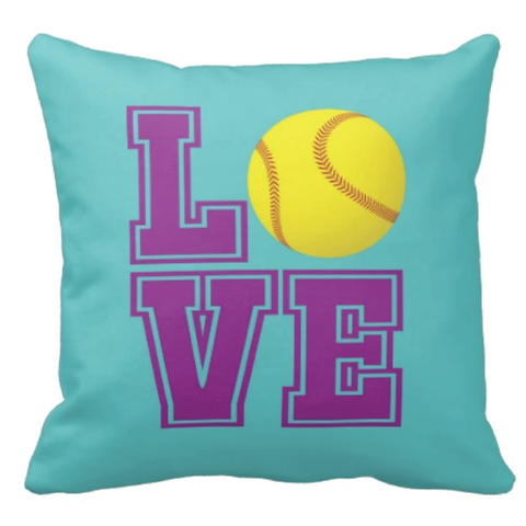 Custom LOVE Softball Throw Pillow for Girls - Sports Team Gift for Teens - College Dorm Room Decor - Yellow, Purple, Pool