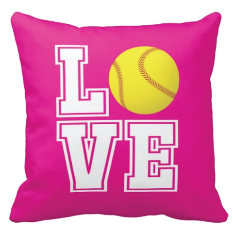 Custom LOVE Softball Throw Pillow for Girls - Sports Team Gift for Teens - College Dorm Room Decor - White, Yellow and Hot Pink