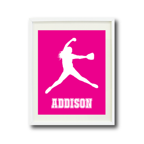 Softball Pitcher Wall Art Print for Girls - Monogrammed Art Print for Teens - Sports Gift for Kids - White and Hot Pink