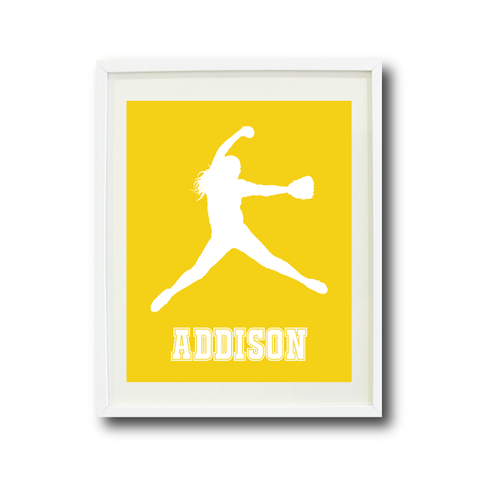 Softball Pitcher Wall Art Print for Girls - Monogrammed Art Print for Teens - Sports Gift for Kids - White and Yellow