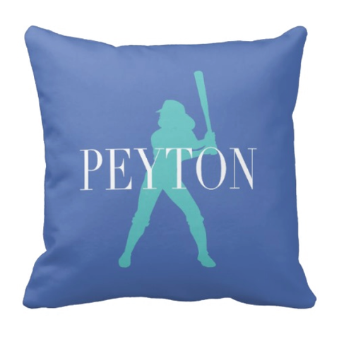 Softball Silhouette Throw Pillow for Girls - Teen Sports Gift - Softball Room Decor for Teens - White, Periwinkle, Pool