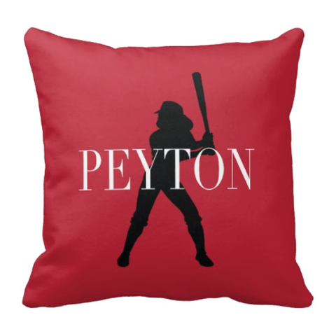Softball Silhouette Throw Pillow for Girls - Teen Sports Gift - Softball Room Decor for Teens - White, Black and Red