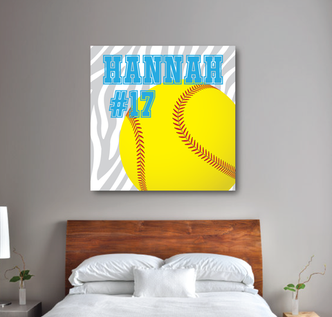 Zebra Print Softball Canvas - Monogrammed Name and Jersey Number - Sports Team Gift Girl and Teen Softball Players - Grey, White, Yellow and Turquoise
