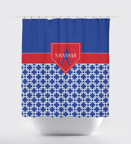 Chain Link Home Plate Softball Shower Curtain - Kids and Teens Custom Bathroom Decor - Girls Softball Team Sports Gift - White, Red, Royal Blue