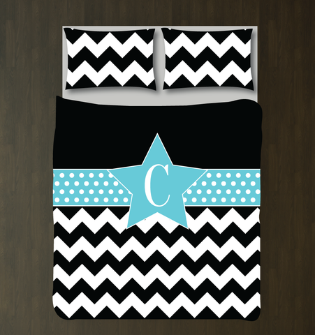 Custom Star Duvet Cover and Shams - Chevron and Polka Dot Bedding Set for Girls - Monogram Initial - Teens - Kids - Teenagers - Musical Theatre - Acting - Drama - Theater - Dance - Film - White, Black and Aqua