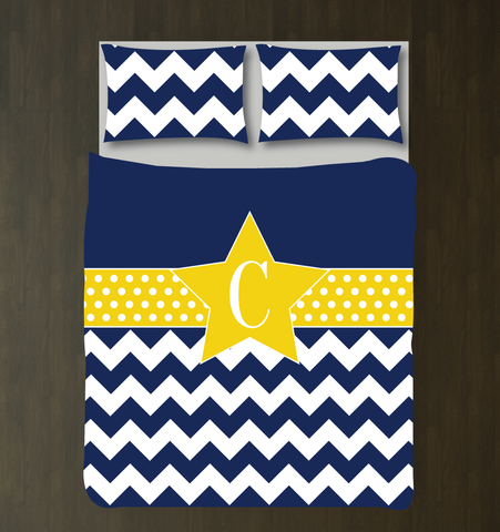 Custom Star Duvet Cover and Shams - Chevron and Polka Dot Bedding Set for Girls - Monogram Initial - Teens - Kids - Teenagers - Musical Theatre - Acting - Drama - Theater - Dance - Film - White, Navy Blue, Yellow