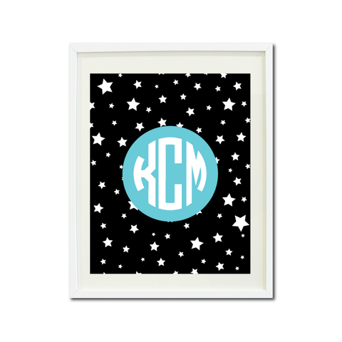 Dance Theatre Music Wall Art Print - Stars - Circle Mongoram - Custom Gift for Girls and Teens – Performer - Performing Arts Themed Bedroom Decor- White, Black, Aqua