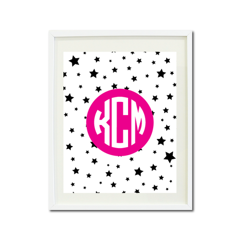 Dance Theatre Music Wall Art Print - Stars - Circle Mongoram - Custom Gift for Girls and Teens – Performer - Performing Arts Themed Bedroom Decor- White, Black, Hot Pink