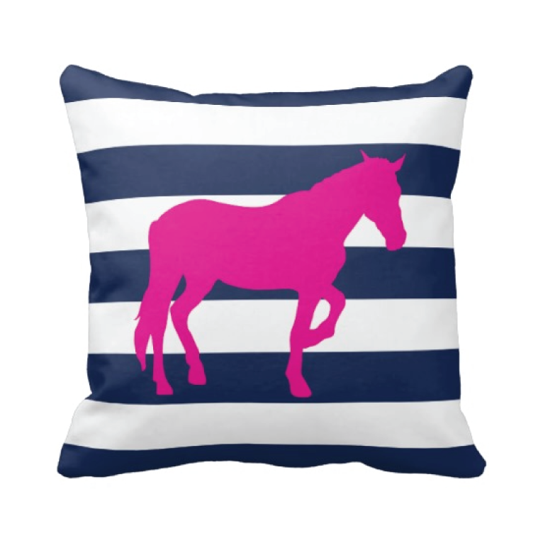 Custom Rugby Striped Horse Throw Pillow Kids Bedding Shop Simple Horse Pillows Decor