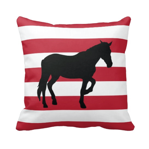Custom Rugby Striped Horse Pillow for Boys and Girls - Equestrian Bedding and Room Decor for Teens - White, Black and Red