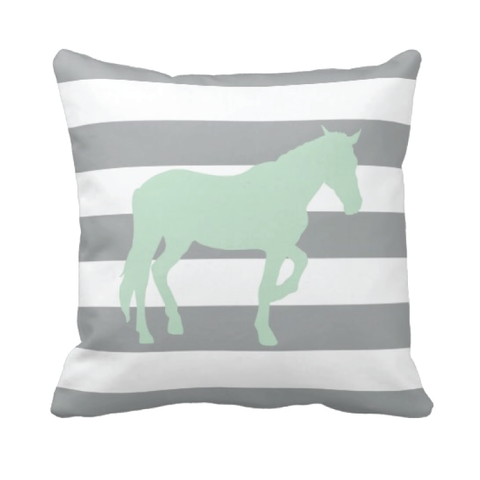 Custom Rugby Striped Horse Pillow for Boys and Girls - Equestrian Bedding and Room Decor for Teens - White, Grey and Mint