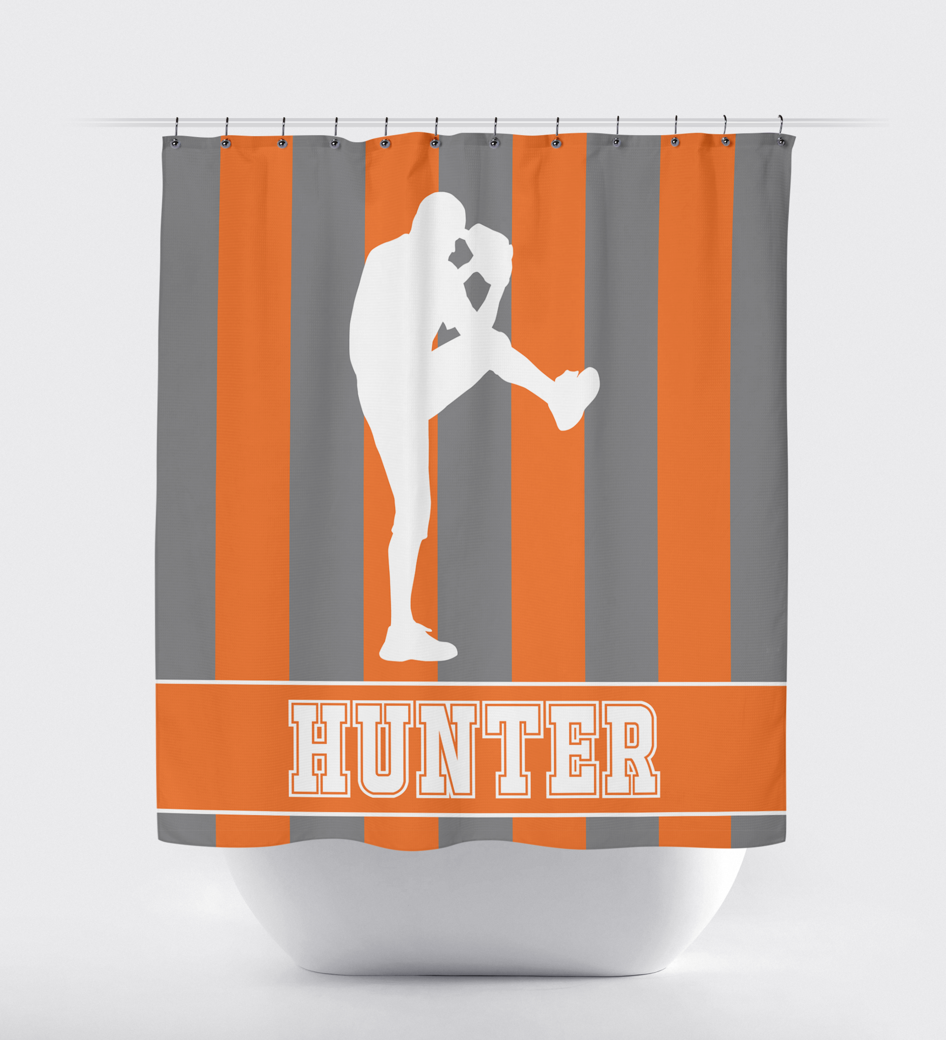 Custom Striped Baseball Player Shower Curtain