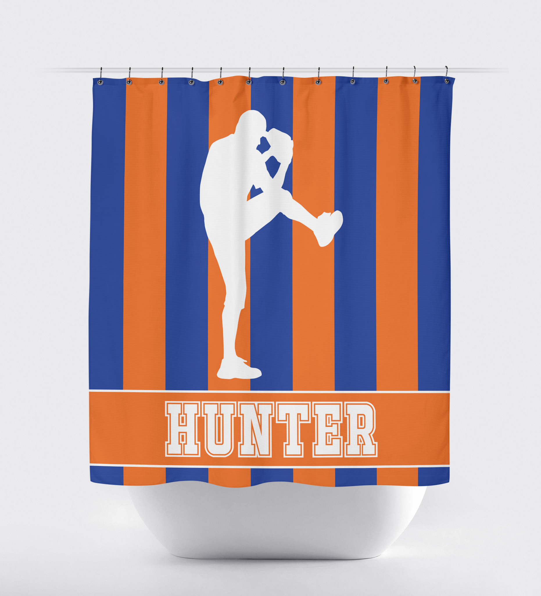 Baseball Shower Curtain -  custom striped baseball player shower curtain sports gifts for boys and teens bathroom decor