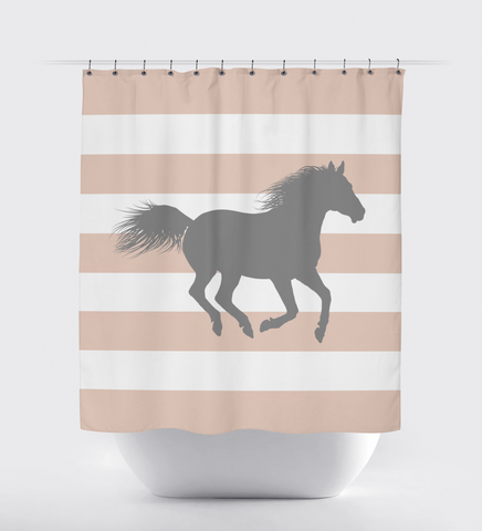 Custom Horse Shower Curtain with Rugby Stripes - Equestrian Gift for Girls and Boys - Custom Teen Gift - Rose Smoke and Titanium